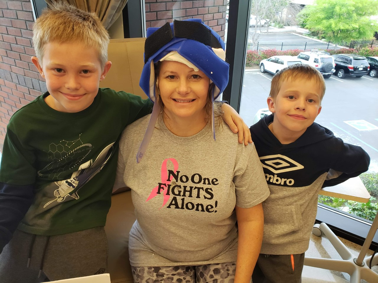 Molly Yates with the cold cap and her boys